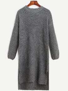 Grey Slit Side Dip Hem Sweater Dress