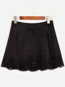 Black Eyelet Scalloped Suede A-Line Skirt