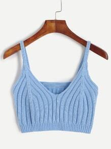 Blue Ribbed Knit Crop Cami Top