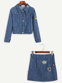 Blue Striped Embroidered Patches Top With Denim Skirt