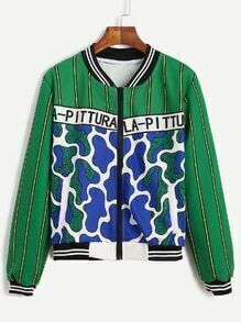Green Printed Varsity Striped Zip Up Jacket