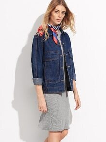 Blue Raglan Sleeve Single Breasted Denim Jacket