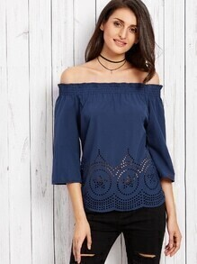 Navy Off The Shoulder Eyelet Top