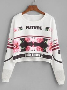 White Floral Print Drop Shoulder Sweatshirt
