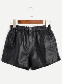 Black Elastic Waist Faux Leather Shorts