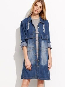 Blue Ripped Boyfrind Knee Length Denim Coat