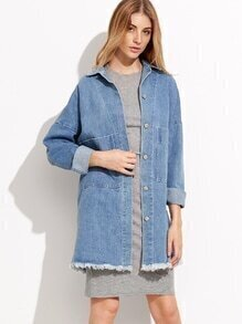 Blue Drop Shoulder Frayed Pockets Denim Coat