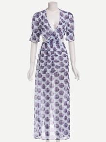 Deep V Neck Printed Ruffle Cut Out Maxi Dress