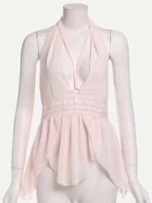 Pale Pink Deep V Neck Open Back Chiffon Top