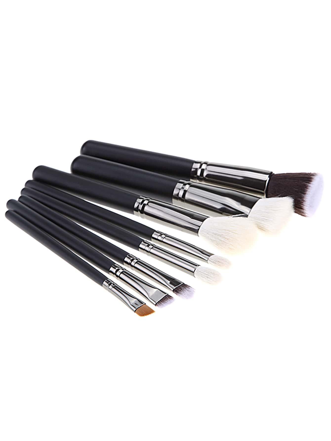 Professional 8pcs Faux Crystal Zircon Fiber Hair Makeup: 8PCS Black Professional Makeup Brush Set -ROMWE