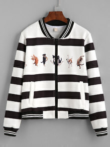 Black And White Striped Animal Print Zip Jacket
