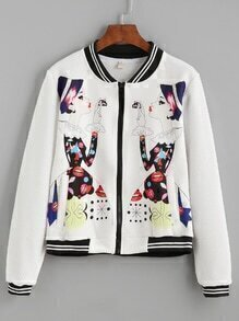 White Girl Print Varsity Striped Zip Up Jacket