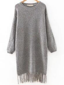 Grey Drop Shoulder Marled Knit Tassel Hemline Sweater Dress
