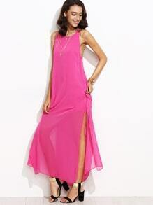 Hot Pink Caged Strappy Back Split Side Chiffon Dress