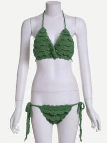Green Halter Tie Side Crochet Ruffle Bikini Set