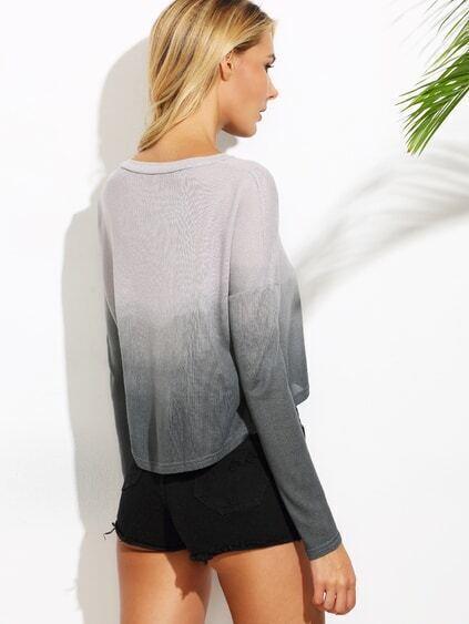 Grey Ombre Drop Shoulder Crop T-shirt
