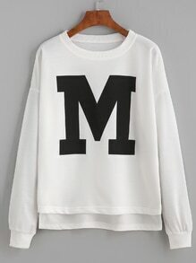 White Letter Print Drop Shoulder Dip Hem Sweatshirt