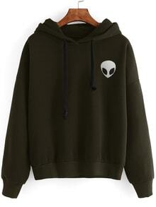 Army Green Alien Print Drop Shoulder Hooded Sweatshirt