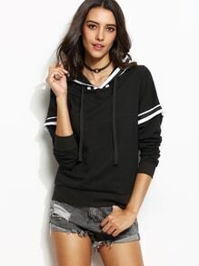 Black Varsity Striped 2 In 1 Hooded Sweatshirt