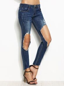 Blue Ripped Knees Ankle Asymmetric Skinny Jeans