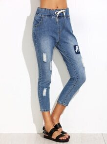 Blue Ripped Drawstring Patch Jeans