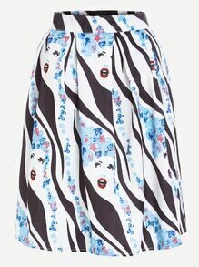 Abstract Print Flare Skirt With Zipper