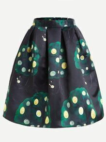 Black Money Tree Print Flare Skirt With Zipper