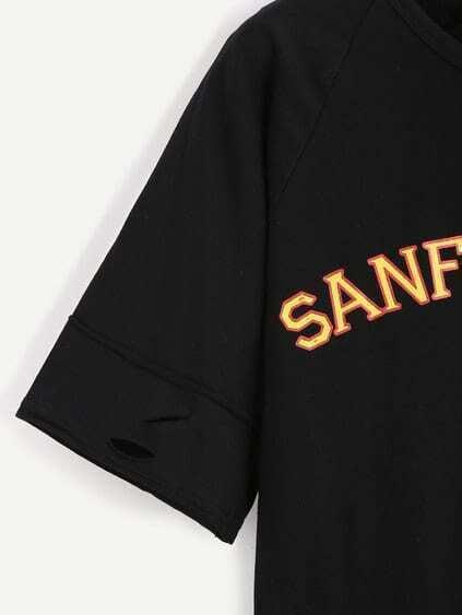 Black Slogan Print Distressed T-shirt