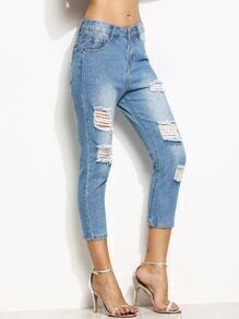 Blue Ripped Bleached Skinny Jeans