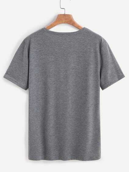 Grey Letter Print T-shirt
