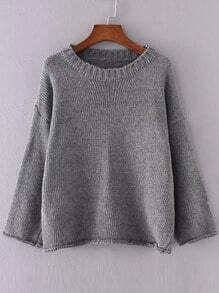 Grey Drop Shoulder Roll Hem Sweater
