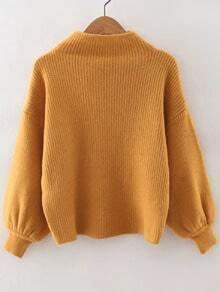 Yellow Ribbed Lantern Sleeve Loose Knitwear