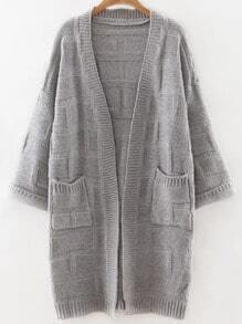 Grey Collarless Drop Shoulder Pocket Long Textured Cardigan