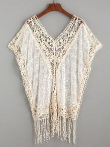 Beige Hollow Out Crochet Trim Fringe Mesh Batwing Top
