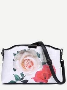 Rose Print Crocodile Embossed Shoulder Bag