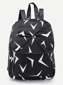 Black Triangle Pattern Print Bowknot PU Backpack
