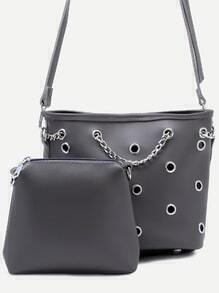 Grey Metal Eyelet Chain Bucket Bag With Clutch Bag
