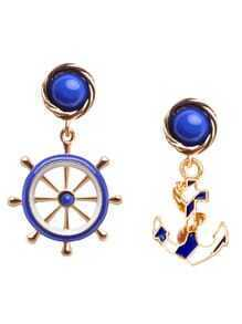 Bleu Asymmetric Fashion Anchor Earrings