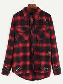 Plaid Pin Embellished High Low Shirt