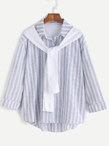 Vertical Striped Sleeve Tie Cuffed Dip Hem Shirt