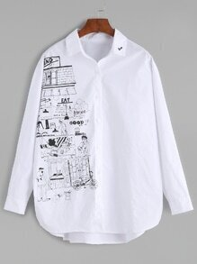 White Cartoon Print Embroidered Blouse