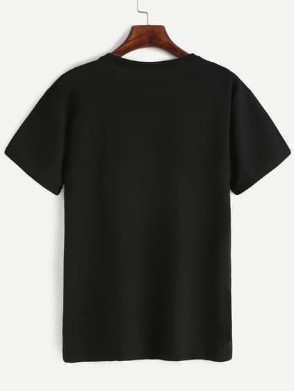 Black Letter Print Crew Neck T-shirt