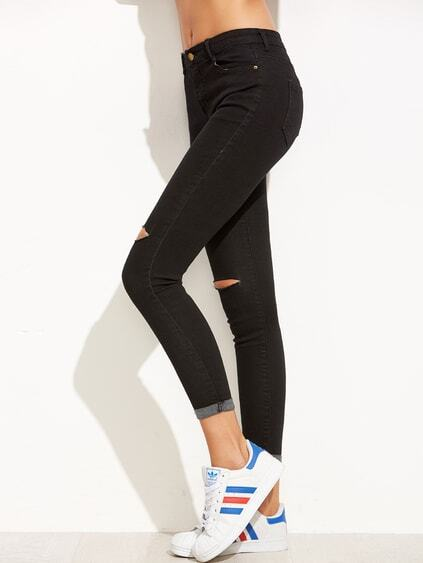 Black Ripped Rolled Hem Skinny Ankle Jeans