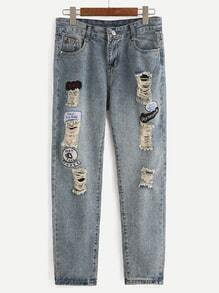 Blue Ripped Embroidered Patches Jeans