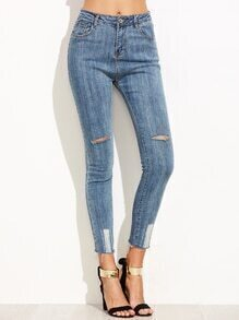 Light Blue Ripped Fray Hem Skinny Jeans