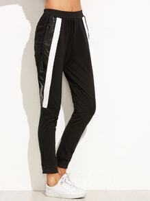 Black Contrast Panel Elastic Waist Pants