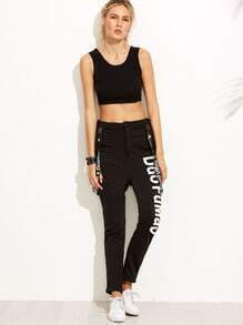 Black Letter Print Pants With Strap