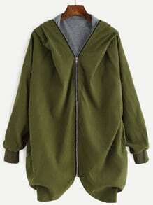 Army Green Raglan Sleeve Zipper Hooded Coat