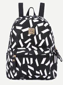 Black Print Metal Embellished Zip Pocket Backpack