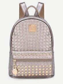 Braided Metal Embellished Studded Zip Pocket Backpack